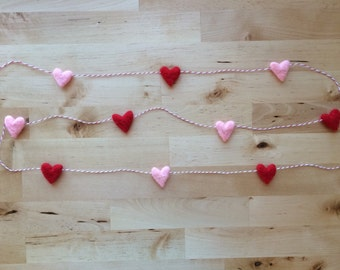 Felted wool heart garland, Red and Light Pink, on red striped baker's twine, 6ft, Valentine's Day party decoration, heart home decor