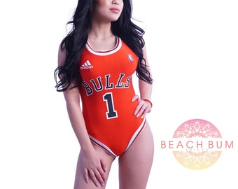 Chicago Bulls One Piece Swimsuit, Jersey Swimsuit, Womans One Piece, Ladies Swimwear, Swimwear, Ladies Swimwear, Bulls Swimsuit