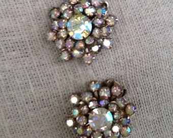 Antique Vintage Austrian Aurrora Borealis Rhinestone Clip On Earrings/Weiss/1940's/wedding/gift