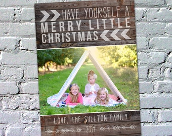 Photo Christmas Card : Pallet Wood Rustic Merry Little Christmas Custom Photo Holiday Card Printable