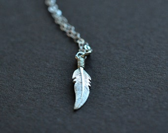 Feather Necklace - Sterling Silver Feather Necklace - Small Feather Pendant With Chain - Boho Jewelry