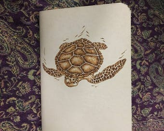 Refillable Leather Journal with Burned Kemp Ridleys Turtle Design