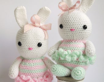 Large Amigurumi Crochet Bunny. Lovely New baby, birthday or baby girl christening gift. Pink, white and green yarn.