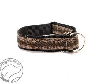 """T is for Tigger Dog Collar - 1.5"""" wide (38mm) - Martingale or Quick Release - Choice of style and size // brown // black // tan"""