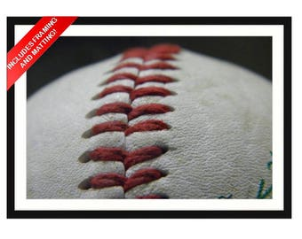Red Stitches on a Baseball, Close Up (Macro) Photo (Framed Matted Artwork)