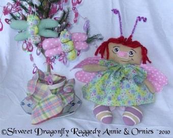 Dragonfly Raggedy Annie Cloth Doll Ornie ePatterns Instant Downloads