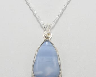 Gorgeous Owyhee Blue Opal Wire Wrapped Pendant - Wrapped in .925 Sterling Silver