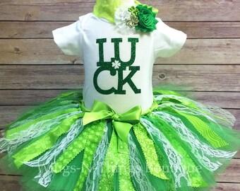 GIRLS ST PATRICKS Fabric Tutu Skirt 3pc Set w/ Bodysuit, Headband, Toddler, Luck, Baby, Lucky Charm, Birthday, Girls, 3, 6, 9, 12, 18 months