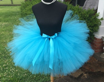 """Solid Turquoise Adult Tutu for waist up to 34 1/2"""" great for Halloween, Birthdays, Dance and Bachelorette parties"""