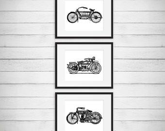 Boys Motorcycle Room, Vintage Artwork Wall Art, Garage Decor, Antique Motorcycle Print, Classic Motorcycle Art