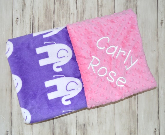 Moonbeam minky personalized softness personalized baby blanket purple minky blanket bubblegum pink monogrammed elephants girl blanket with name negle Choice Image
