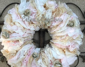 Shabby Chic Spring coffee filter wreath