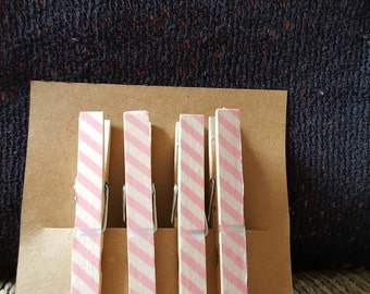 Super cute pink striped magnets, set of 4