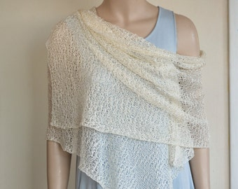 Ivory Cream Knit Lace Shawl for Weddings, Spring and Summer Dresses, Hand Knitted