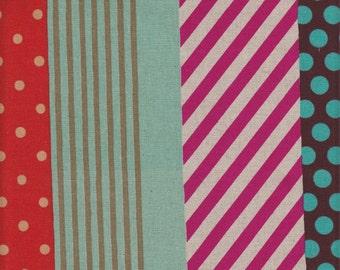 Kokka Japanese Imported Echino Multi Stripe Canvas - Half Yard