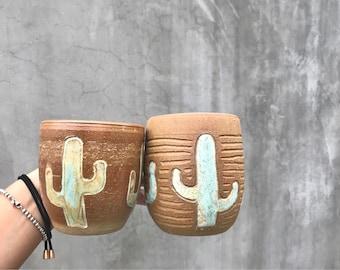 Cacti Mugs - white handmade pottery, ceramics