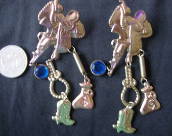 Cowgirl Pierced Earrings Horses Ranch Rodeo