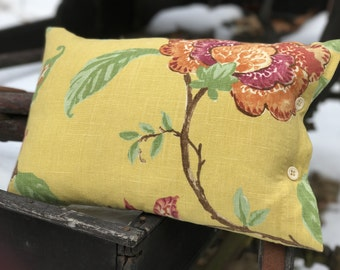 Vintage Barkcloth Throw Pillow