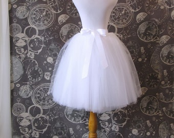 White Tulle Skirt - Adult Knee Length Tutu with Ribbon Waist and Ties - Custom Size - Made to Order