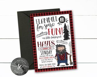Lumberjack Birthday Invitations, First Birthday, Lumberjack Theme, Flapjacks, Flannel, Plaid, Flannel UP, Woodland, Forrest, Buffalo Plaid