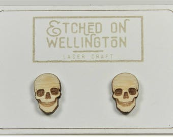 Laser cut and engraved Halloween earrings