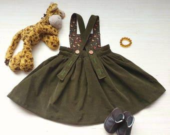 Pinafore Dress, Toddler Pinafore Dress, Girls Pinafore Dress, Vintage Girls Dress Dress, Corduroy Dress, Baby Pinafore, Easter Dress, Green