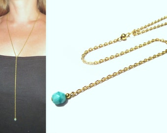 Thin Long Y Necklace / Delicate Turquoise Rosary Necklace / Blue Lariat Necklace / Lariat Chain / Long Rosary / Gold Y Necklace / N176
