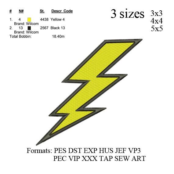 Lightning Bolt Stickmaschine. Stickmuster. Stickerei entwirft