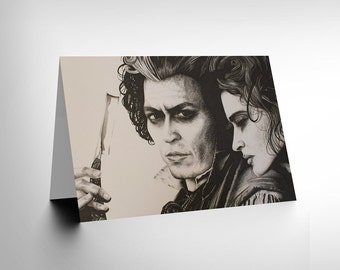 Sweeney Todd Card - Johnny Depp Art by Wayne Maguire Blank Card CL1906