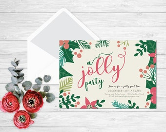 Jolly Party Invitation, Seasonal holiday party invitations online printable design christmas floral holiday party invitation