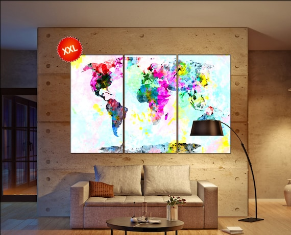 world map abstract  print on canvas wall art world map abstract artwork large world map Print home office decoration