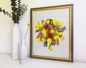 Vintage Framed Floral Crewel Embroidery Art + Happy Groovy Flowers + Green Yellow Purple Red + 1970s + Boho Bohemian Decor + Handmade Art
