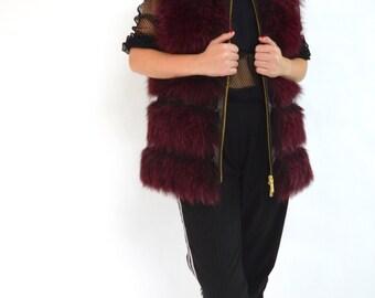 Real new fur vest,Burgundy fox fur vest, fur vest, genuine fur pelt, Bordeaux Persian lamp and fox fur pelt zipped coat.Full skin fox vest.