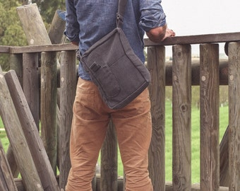 Gray Blue Canvas ,Messenger bag,with Adjustable Strap,Vegan - Maude in Grey
