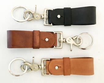 Leather Key Fob - Leather Keychain - key chain - 3rd Anniversary Gift for Wife or Husband - Heavy Duty - Gift for Her - Hook to Purse