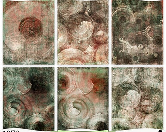 Grungy Peach Brown Green Painted Digital Prints Instant Download Set of 6 - 8.5 x 11 inch Printable Papers JPEG & PDF Commercial Use 1980
