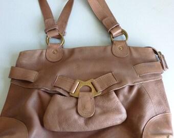 Vintage Brown Leather Hidesign Bag - Part of the Radley Group - Tan Leather Tote Bag - Vintage Leather Shoulder Bag - Large tote bag - Brass