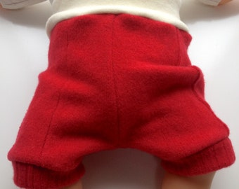 6-12+ months - Red Diaper Cover Wool Shorties - Recycled wool and interlock wool shorts