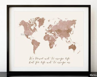 World map printable etsy world map printable we travel not to escape life but for life not to escape gumiabroncs Image collections