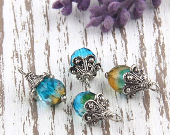 Faceted Czech Glass Bead Dangles, 4 pieces // BD-049
