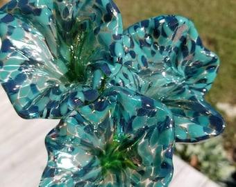 Handmade Blue Glass Flowers