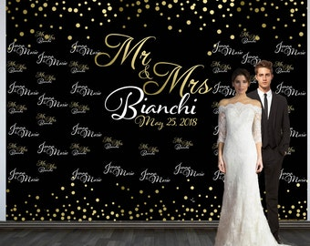 Wedding Photo Backdrop, Custom Wedding Backdrop, Personalized Step and Repeat Backdrop, Black and Gold Confetti Photo Booth Backdrop