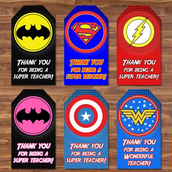 Teacher Appreciation Week Superhero Tags Thanks for Being a Super Teacher - Teacher Gift Tag - Superhero Thank You Tags - Teacher Thank You