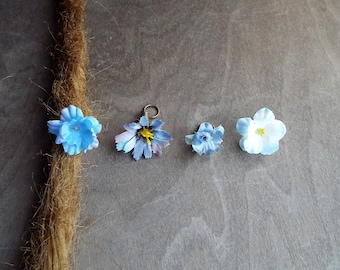 Shades of Lighter Blues Flower Dangle Charm Bead Antiques Brass  Dreadlock Accessory Extension Accessories Dread Boho Bohemian Hippie