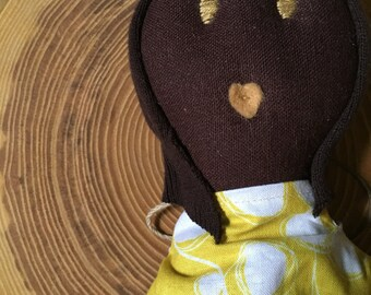 """Olivia, 18"""" Brown linen fabric doll, yellow and white cotton dress, black rag doll, African American fabric doll. Ready to ship."""