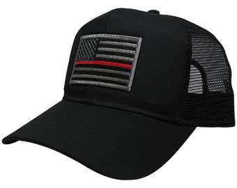 Thin Red Line Fire Fighter EMS Flag Embroidered Patch Trucker Baseball Cap