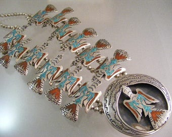 Vintage Signed  Native American Chip Inlay Peyote Bird Necklace with Early Tommy Singer Mark .... Lot 5552