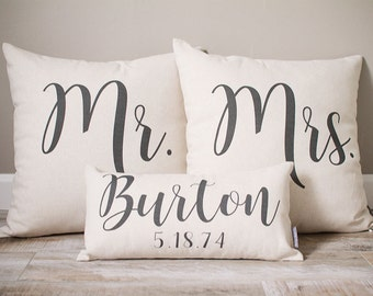 Mr and Mrs Pillow Sets, 3 Wedding Pillows Set Custom Monogrammed Pillow Sets, Pillows with Mr and Mrs Last Name & Established Date
