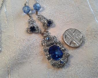 Vintage Art Deco Chrome and Blue Glass Necklace.