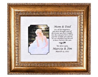 Mom and Dad Wedding Gift Bride Gift to Parents Groom's Parents Wedding Gift Personalized Picture Frame     13x15 overall